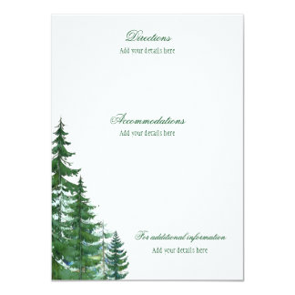 Fir Tree Wedding Accomodations Details Information Card