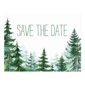 Fir Tree Wedding Save the Date Postcard