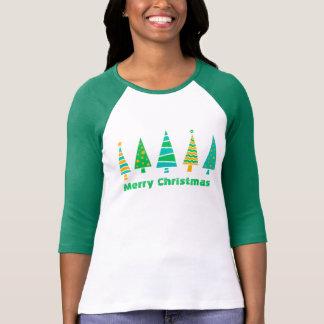 Fir Trees Christmas Raglan T-Shirt