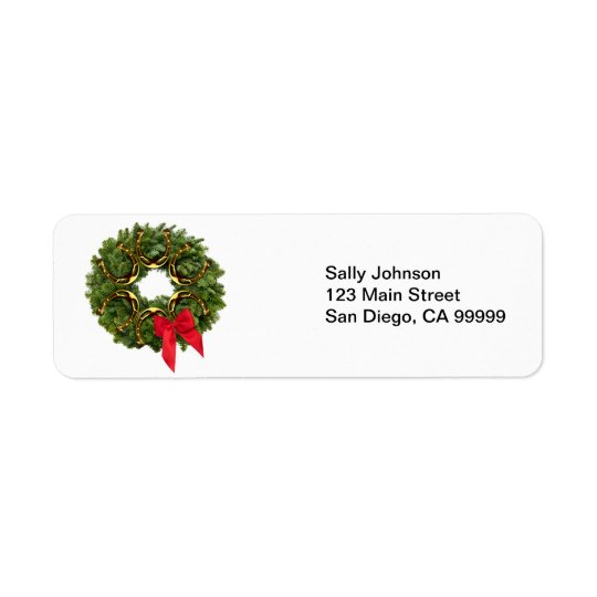 Fir Wreath with Gold Horseshoes & Red Bow Return Address Label