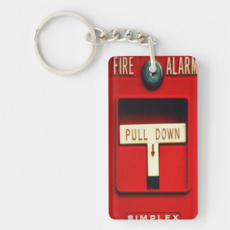 Fire alarm Double-Sided rectangular acrylic key ring