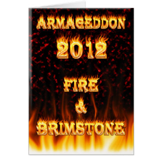 Fire and brimstone fire and red marble. greeting card