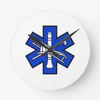Fire and EMS Logo Round Clock