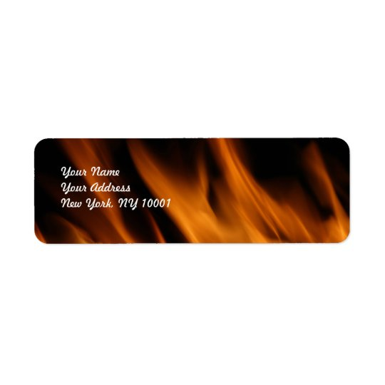Fire and flames return address label