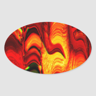 fire and gold oval sticker