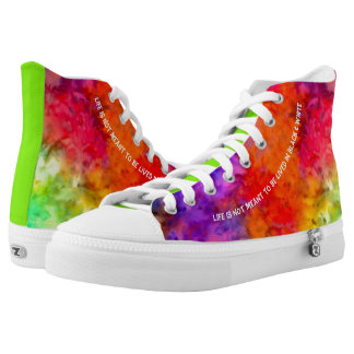 [Fire and Ice] Bright Bold Rainbow Tie-Dye High Tops