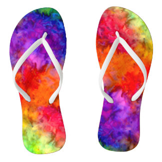 [Fire and Ice] Bright Bold Rainbow Tie-Dye Thongs