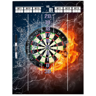 Fire and Ice Darts Scoreboard Dry Erase Board