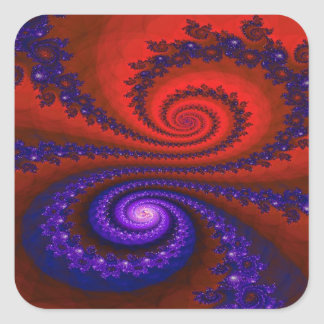 Fire and Ice Fractal Square Stickers