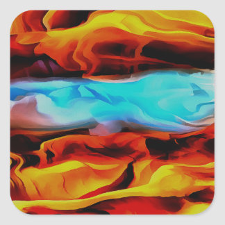 Fire and Ice Square Sticker