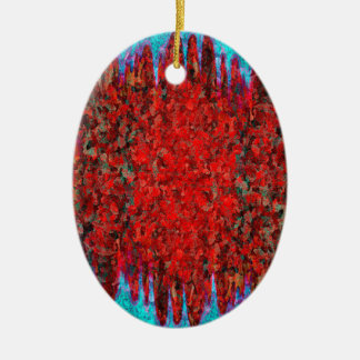 Fire and ice texture ceramic oval decoration