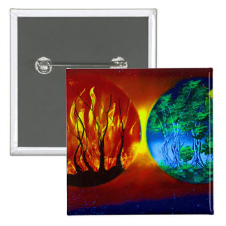 fire and life spraypainting nature image pinback button