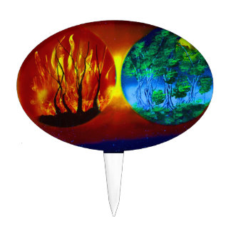 fire and life spraypainting nature image cake pick