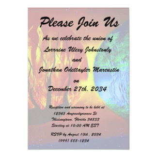 "fire and life spraypainting nature image 5"" x 7"" invitation card"