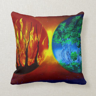 fire and life spraypainting nature image throw cushion