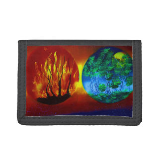 fire and life spraypainting nature image tri-fold wallets