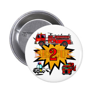 Fire and Rescue 2nd Birthday Tshirts and Gifts 6 Cm Round Badge