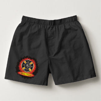 Fire and Rescue Flames Firefighter Boxers