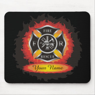 Fire and Rescue Flames Firefighter Mouse Pad