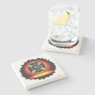 Fire and Rescue Personalized Stone Coaster