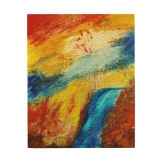 Fire and Water Abstract Wood Wall Decor