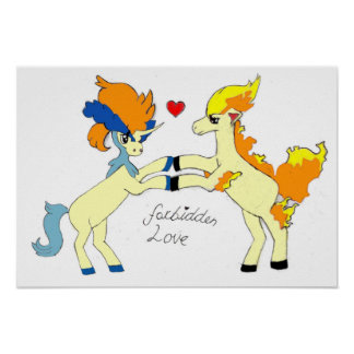Fire and water element ponies forbidden love poster