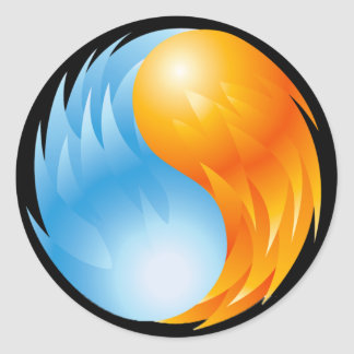 FIRE AND WATER ROUND STICKER