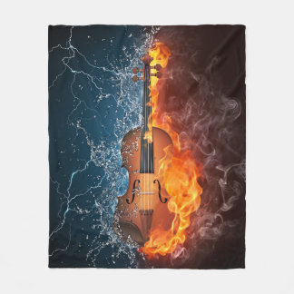 Fire and Water Violin Fleece Blanket