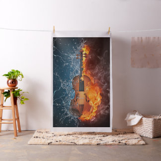 Fire and Water Violin Tapestry Fabric
