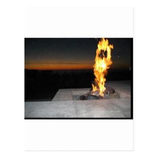 Fire at a restauant near the beach in San Diego Postcard