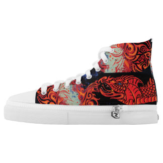 Fire Bloom Dragon Printed Shoes