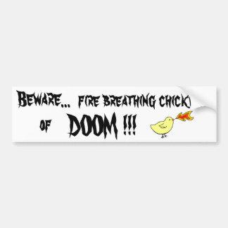 fire breathing chicken bumper sticker