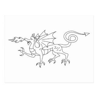 Fire breathing Dragon Illustration Post Card