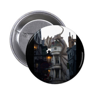 Fire breathing Dragon protecting wizard's bank 6 Cm Round Badge