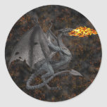Fire-Breathing Dragon Round Stickers