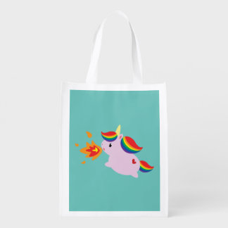 Fire-Breathing Unicorn Reusable Grocery Bag