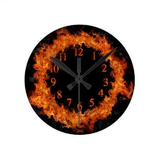 Fire Clock Firey Flames Wall Clock