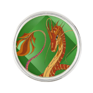 Fire Coral Dragon Lapel Pin