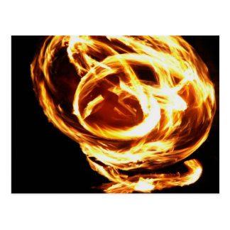 Fire dancer at luau postcard