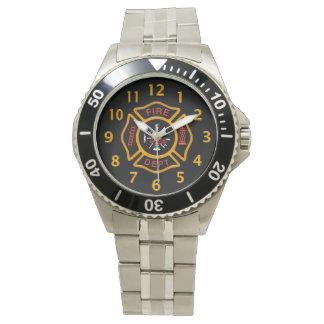 Fire Department Badge Black Wrist Watches