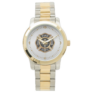 Fire Department Badge Gold and Silver Watch