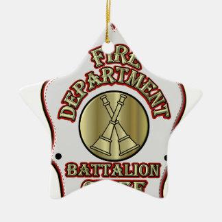 Fire Department Battalion Chief Shield Design Ceramic Ornament