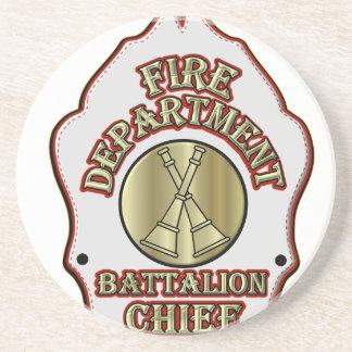 Fire Department Battalion Chief Shield Design Coasters