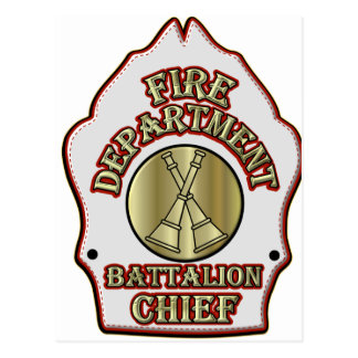 Fire Department Battalion Chief Shield Design Postcard