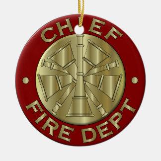 Fire Department Chief Brass Symbol Ceramic Ornament