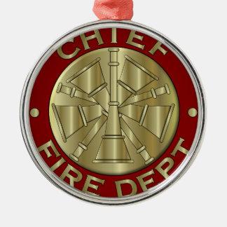 Fire Department Chief Brass Symbol Metal Ornament