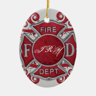 Fire Department Custom Monogram Ceramic Ornament