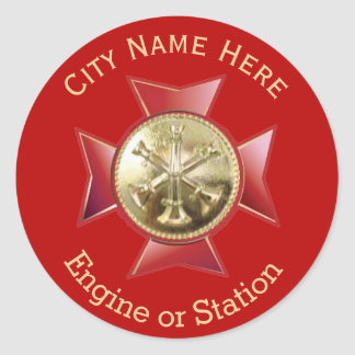 Fire Department Division Chief Gold Medallion Classic Round Sticker