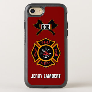 Fire Department Firefighter Badge Name Template OtterBox Symmetry iPhone 7 Case