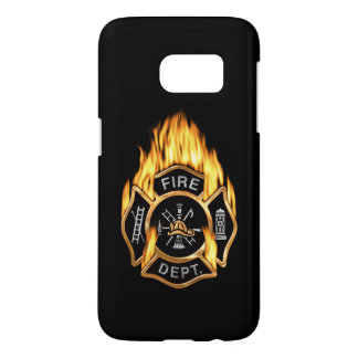 Fire Department Flaming Gold Badge